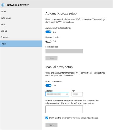 Windows 10 - Set up a OS-level proxy with authentication