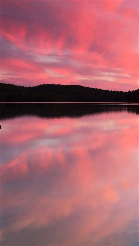 Nature pink forest pier canada lakes reflections wallpaper