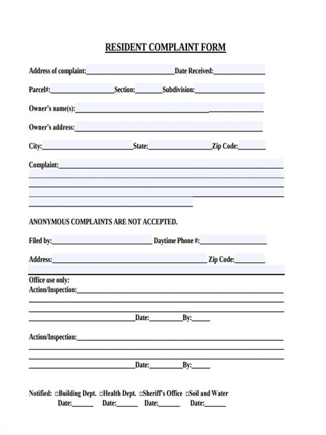 FREE 6+ Sample Resident Complaint Forms in MS Word   PDF