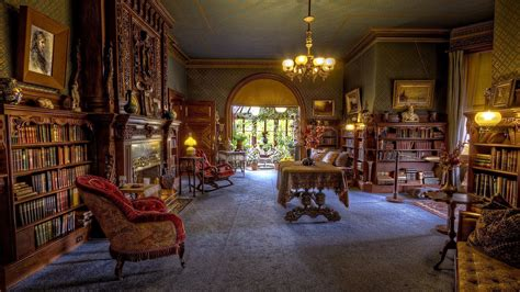 Vintage Room with Library HD wallpaper - backiee