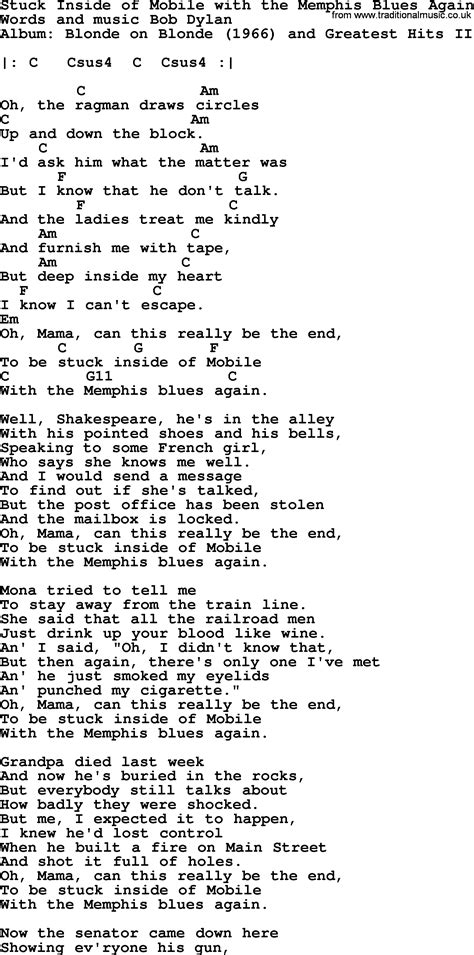 Bob Dylan song - Stuck Inside of Mobile with the Memphis