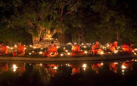 Buddhist Monk Fire Candles Editorial Stock Image - Image