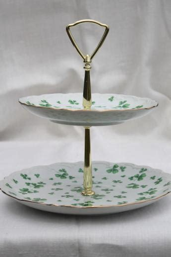 vintage Lefton china green shamrock tiered plate, two-tier